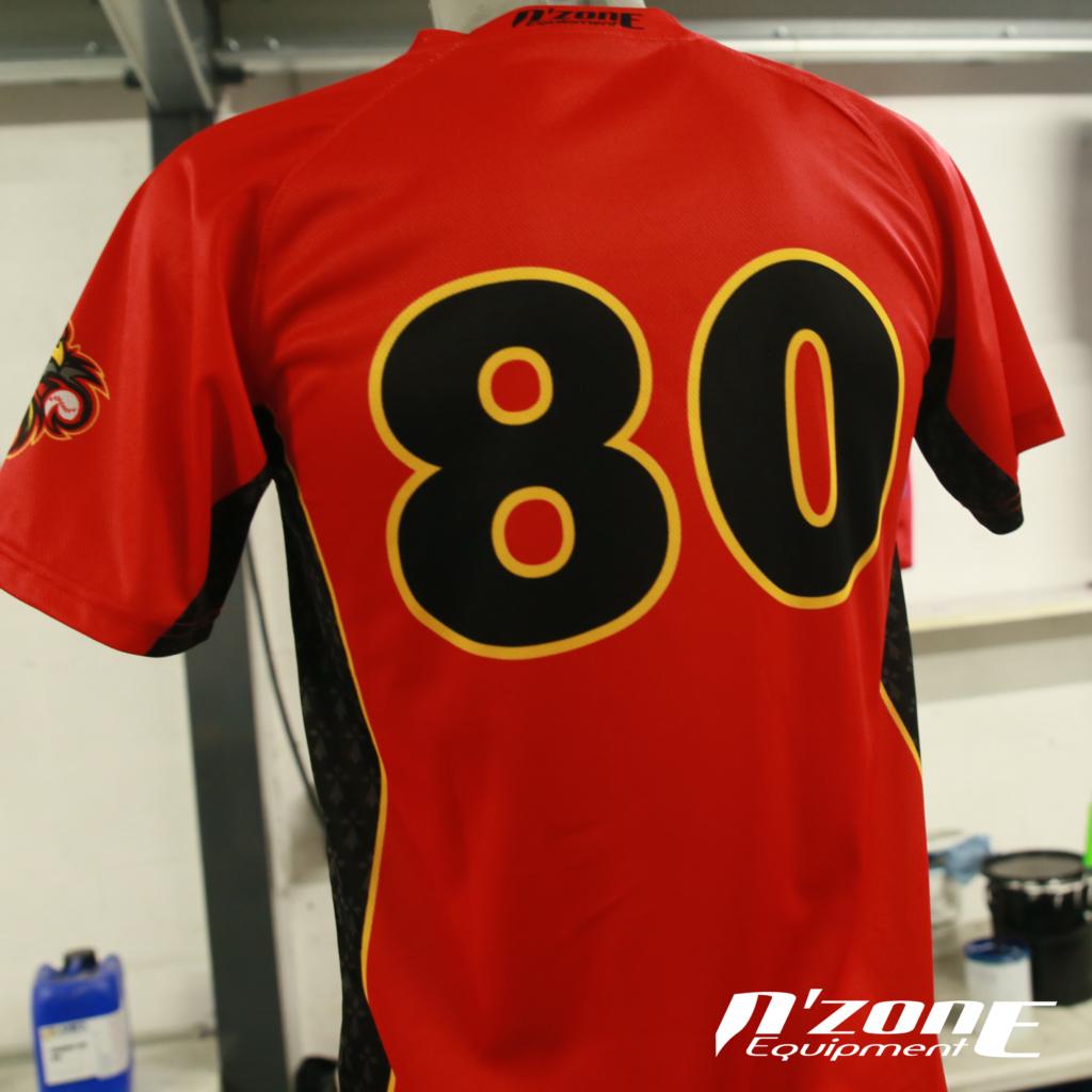 Dos du maillot des Redwings de Rennes